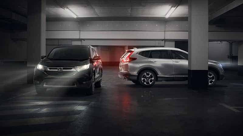 2018 Honda CR-V driving through a parking garage