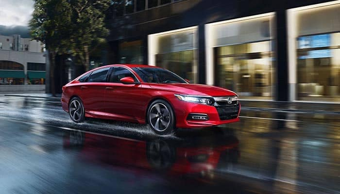 2018 Red Honda Accord Driving on a wet road
