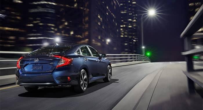 2019 Honda Civic Driving Off Highway Ramp