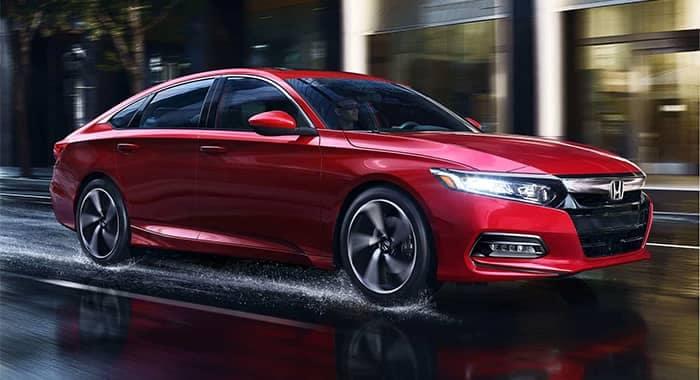 Honda Accord Driving in Rain Red Color