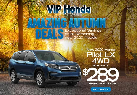 New 2020 Honda Pilot LX AWD Automatic 36 month lease with 10k miles/yr