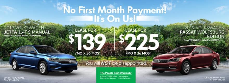 Jetta/Passat - No First Month Payment