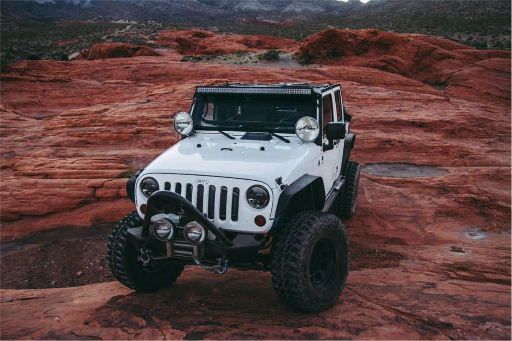 Loaded Jeep Accessories on White Jeep
