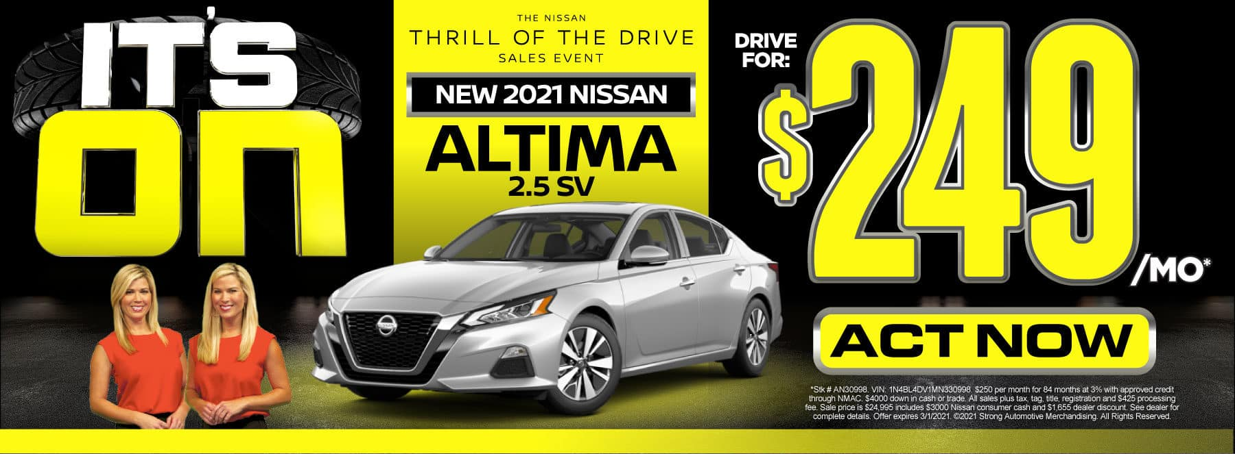 New 2021 Nissan Altima - Drive for $249 per month - Act Now